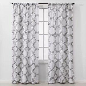 2pc Geometric Light Filtering Window Curtain Panel